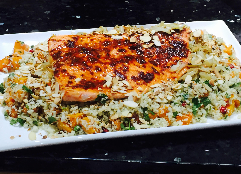 harissa salmon with cauliflower rice