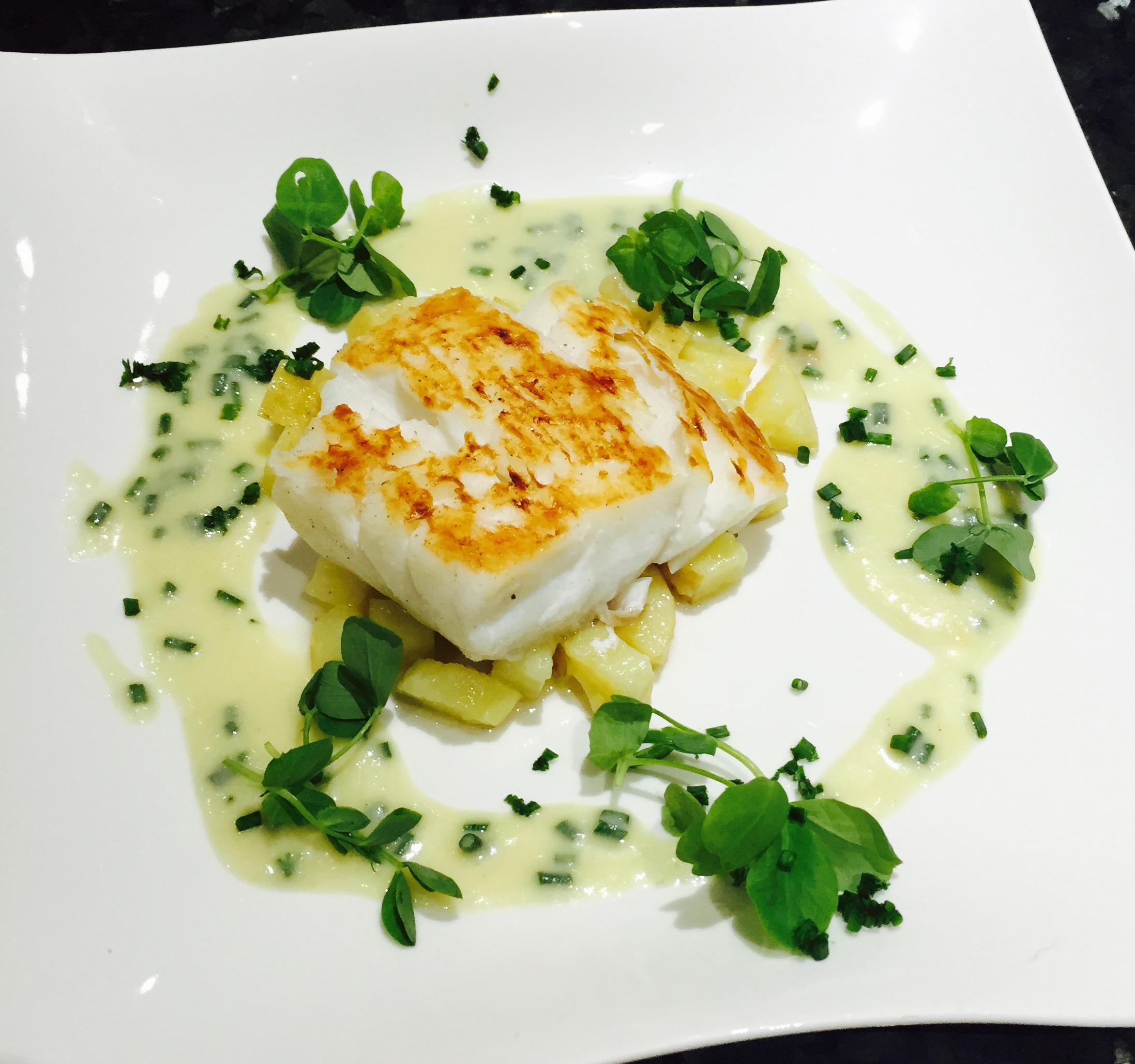 hestons pan seared cod with leek and potato sauce